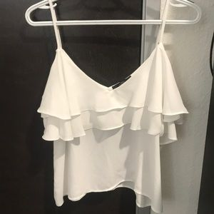White flowy spaghetti strap shirt